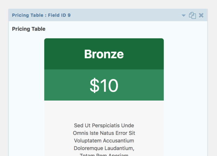 A pricing table produced by Gravity Tables for Gravity Forms
