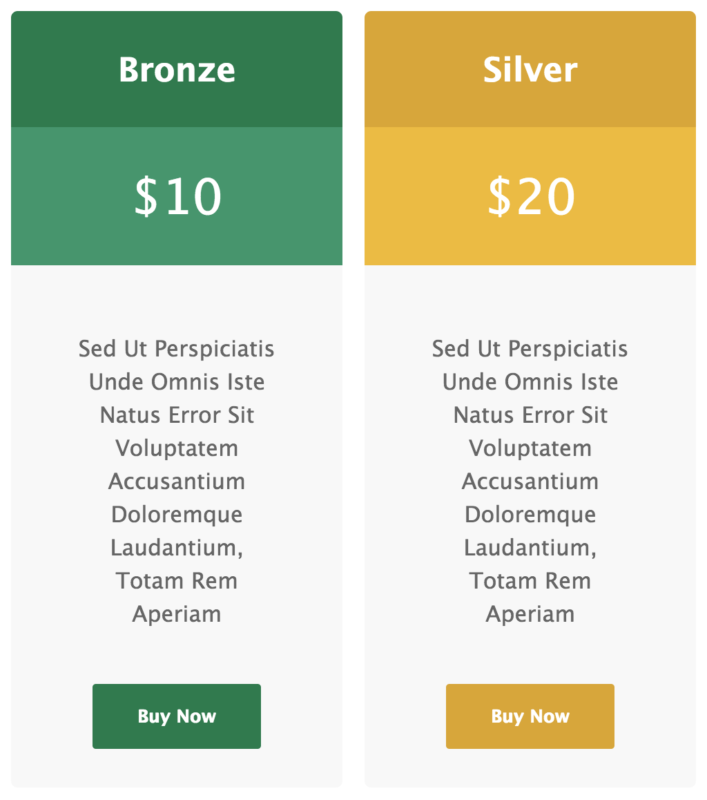 Pricing Tables for Gravity Forms - Green and Yellow Template