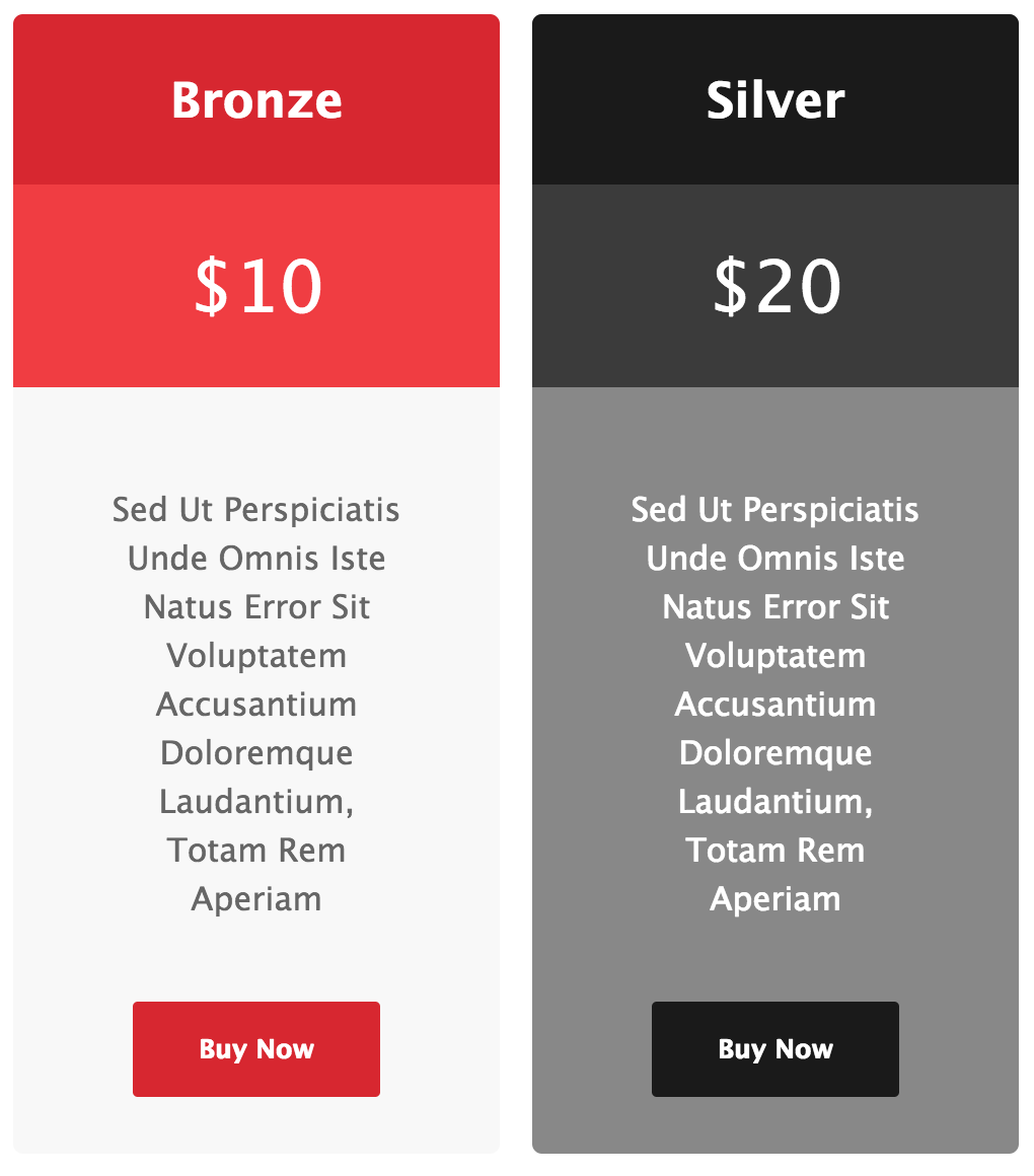 Pricing Tables for Gravity Forms - Red and Black Template