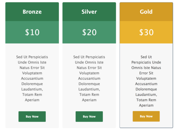 Gravity Forms Pricing Tables Checkout