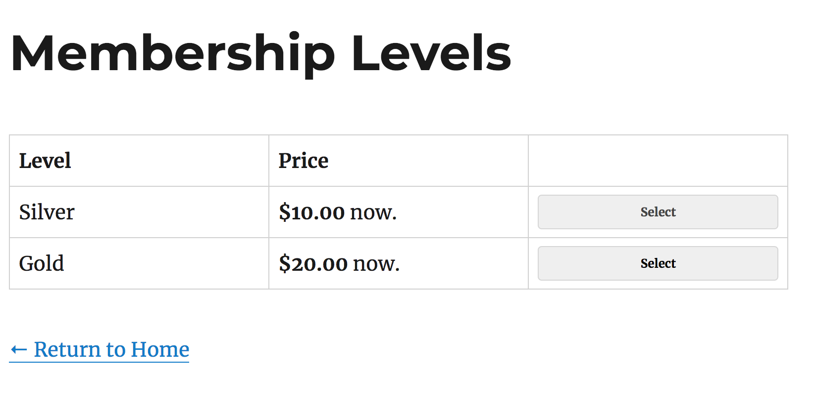 Typical Membership Plugin Checkout