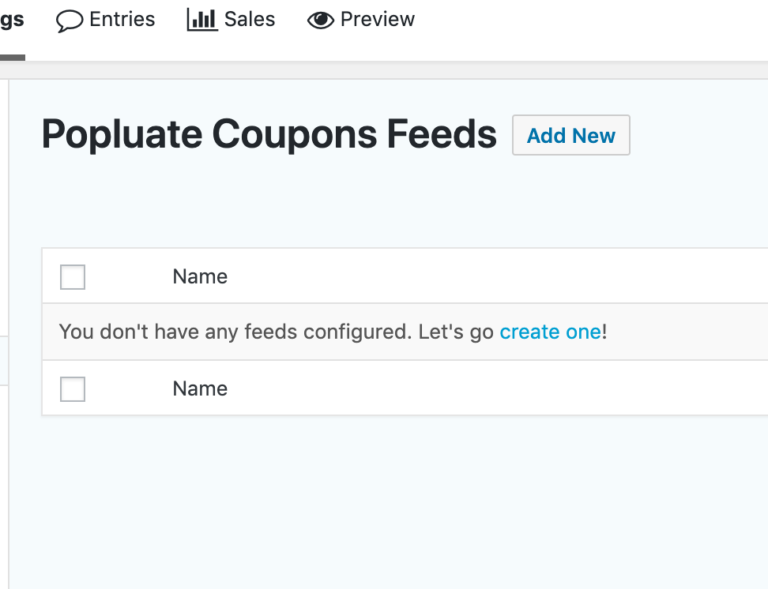 Gravity Forms Dynamic Coupon - Create Feed