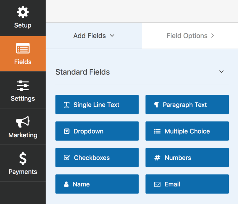 screenshot of WPForms fields