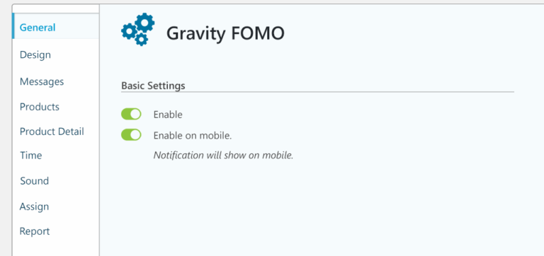 gravity FOMO settings for gravity forms social proof