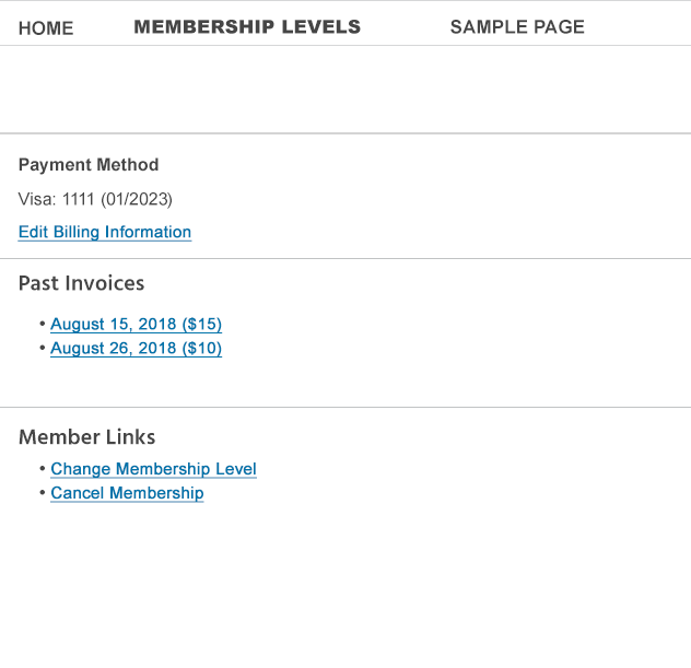 paid memberships pro account page for users