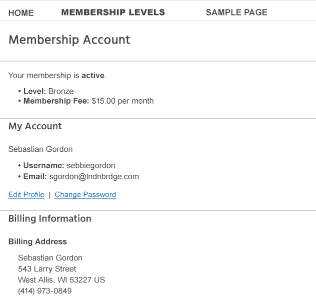 paid memberships pro account options